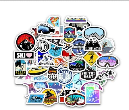 50Pcs Winter Ski Stickers Adventure Camping Forest Decal para Laptop Nevera Teléfono Skateboard Suitcase Sticker Pack: Amazon.es: Coche y moto