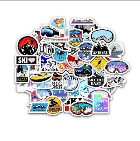 50Pcs Winter Ski Stickers Adventure Camping Forest Decal para Laptop Nevera Tel/éfono Skateboard Suitcase Sticker Pack