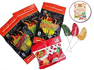 Hot Hot Hot Candy Pack - 3 Pack of Spicy Giant Gummy Peppers, 3- HOTLIX Pepper Suckers and Jelly Belly Tabasco Beans - with a Custom Trivia/Gift