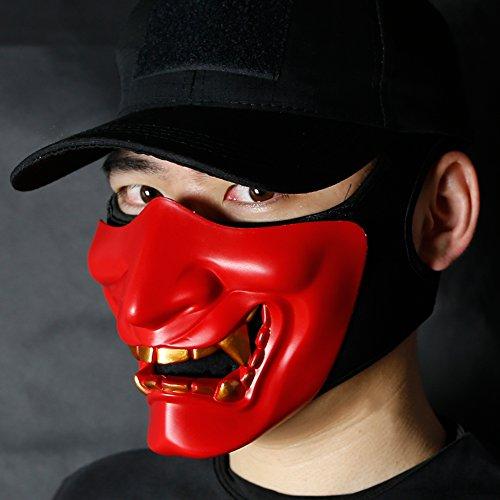 HYOUT Half Face Airsoft Mask,Halloween Costume Cosplay BB Evil Demon Monster Kabuki Samurai Hannya Oni,Red ()