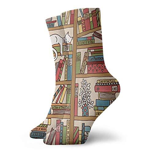 Nerd Book Lover Kitty Sleeping Over Bookshelf Ankle Socks Casual Funny For Sports Boot Hiking Running -