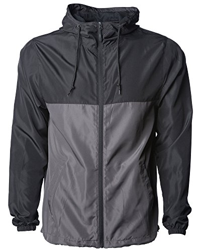 Global Men's Hooded Lightweight Windbreaker Rain Jacket Water Resistant Shell, Black/Graphite, XL