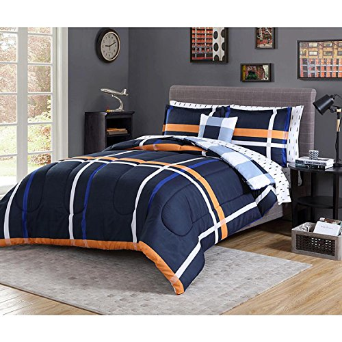 Complete Comforter Set Night Plaid Full Size Bedding Set Navy Blue Hypoallergenic (Essential Home Comforter Set)