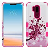 For LG G7 ThinQ Military Grade Case Shockproof Hybrid Rugged Accessory Armor Phone Cover (Sakura)