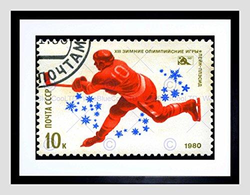 USSR Vintage Postage Stamp Hockey Black Frame Framed Art Print Picture - Stamp Framed Print