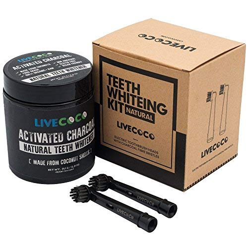 LiveCoco Activated Charcoal Teeth Whitening with Electric Brush Heads with Charcoal Fibre Bristles, Natural Teeth Whitening Using Coconut Shells, Food Grade, Natural, 80g=300 Uses