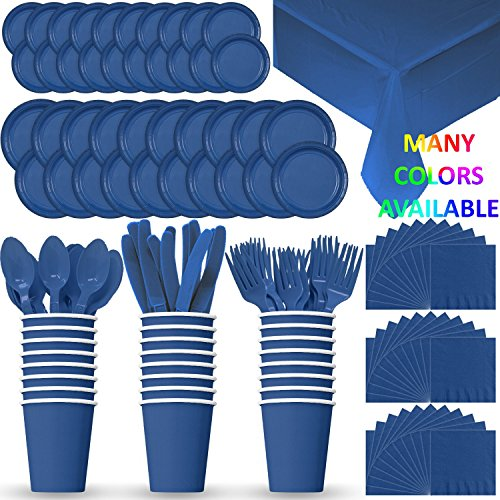 HeroFiber Disposable Paper Dinnerware for 24 - Blue - 2 Size Plates, Cups, Napkins , Cutlery (Spoons, Forks, Knives), and...