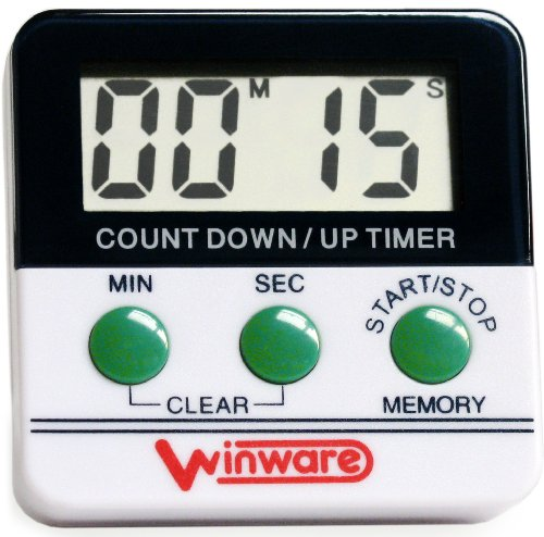 WIN-WARE Kitchen/Cooking/Bedroom/Sport Countdown Timer. Large digital display with extra loud alarm. Big Digit Display. MINUTES AND SECONDS. Includes Magnetic Stand.