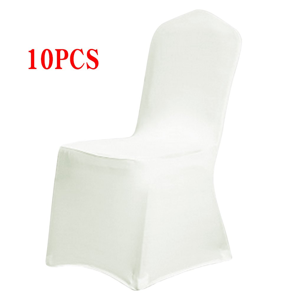 Boshen Set of 1/10/20/50/100 Pcs Removable Washable Stretch Hotel Banquet Dining Spandex Chair Covers (10 PCS, Ivory/Style 1)