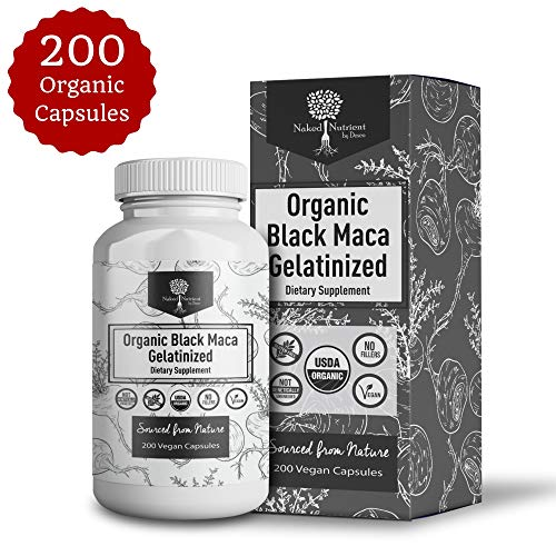 USDA Organic Vegan Gelatinized Black Maca Root- 3,000mg 3x concentrate per Serve-200 Vegan Capsules-Pure Peruvian Extract Powder Pills-Women & Men Supplement- Increase energy
