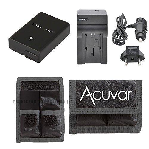 EN-EL14, EN-EL14A Rechargeable Battery + Car / Home Charger + Acuvar Battery Pouch For Nikon D5300, D5200, D3100, D5100, D3200, D3300, D3200, D3100, D5500, Df, P7100, P7000, P7700, P7800 &More