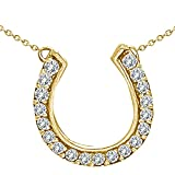 "0.50 Carat G-H Diamond Antique Horseshoe Pendant Necklace With 18"" Chain 14K Yellow Gold"