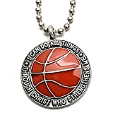 Phil 4:13 Basketball Necklace 'I Can Do All Things Through Christ'