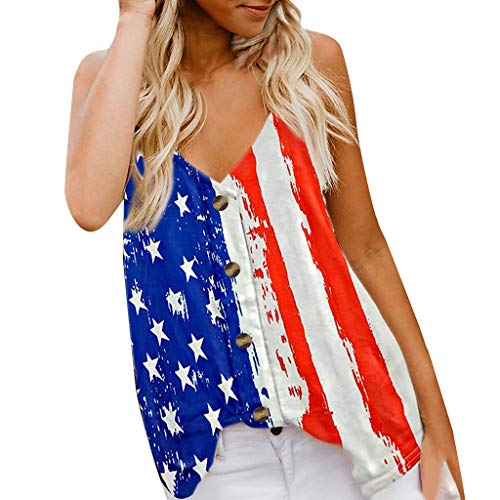 YOCheerful Womens Tops Sleeveless Button Up American Print Tank Top Casual Shirt 4th of July Blouses Loose Vest(White, S)