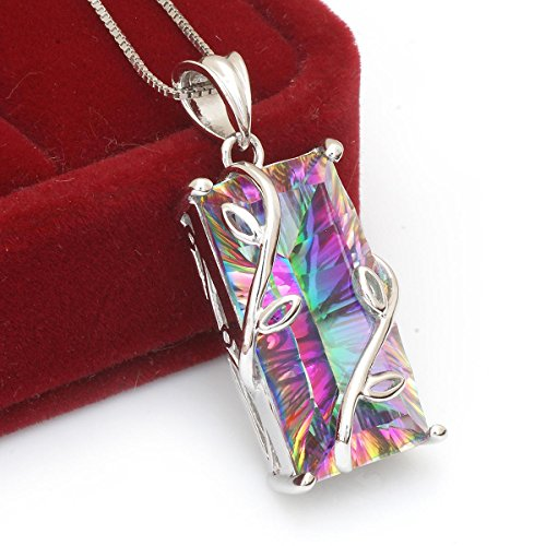 Jewelrypalace Womens 16ct Natural Rainbow Mystic Topaz Pendant 925 Sterling Silver Necklace 18