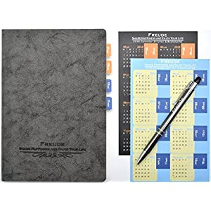 FREUDE Classic Leather Notebook With Touch Screen Pen and 2018 Planner Calendar Stickers,Lined Paper Journals to Write in-Best Gift for Men Women