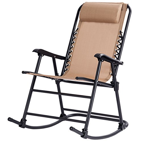Goplus Folding Rocking Chair w/Headrest Outdoor Portable Chair for Camping Fishing Beach (Beige)