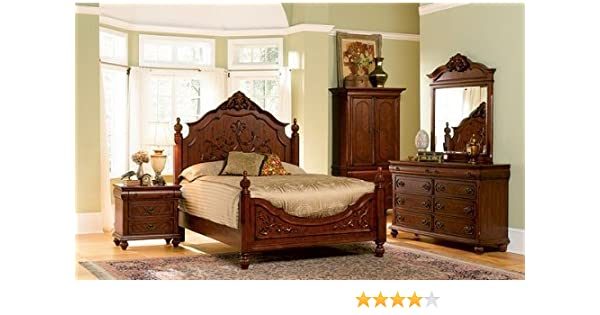 5pc Isabella Collection Solid Wood Eastern King Size Bedroom Set