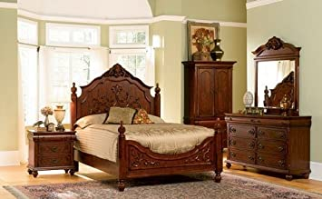 Amazon.com: 5pc Isabella Collection Solid Wood Eastern King Size ...