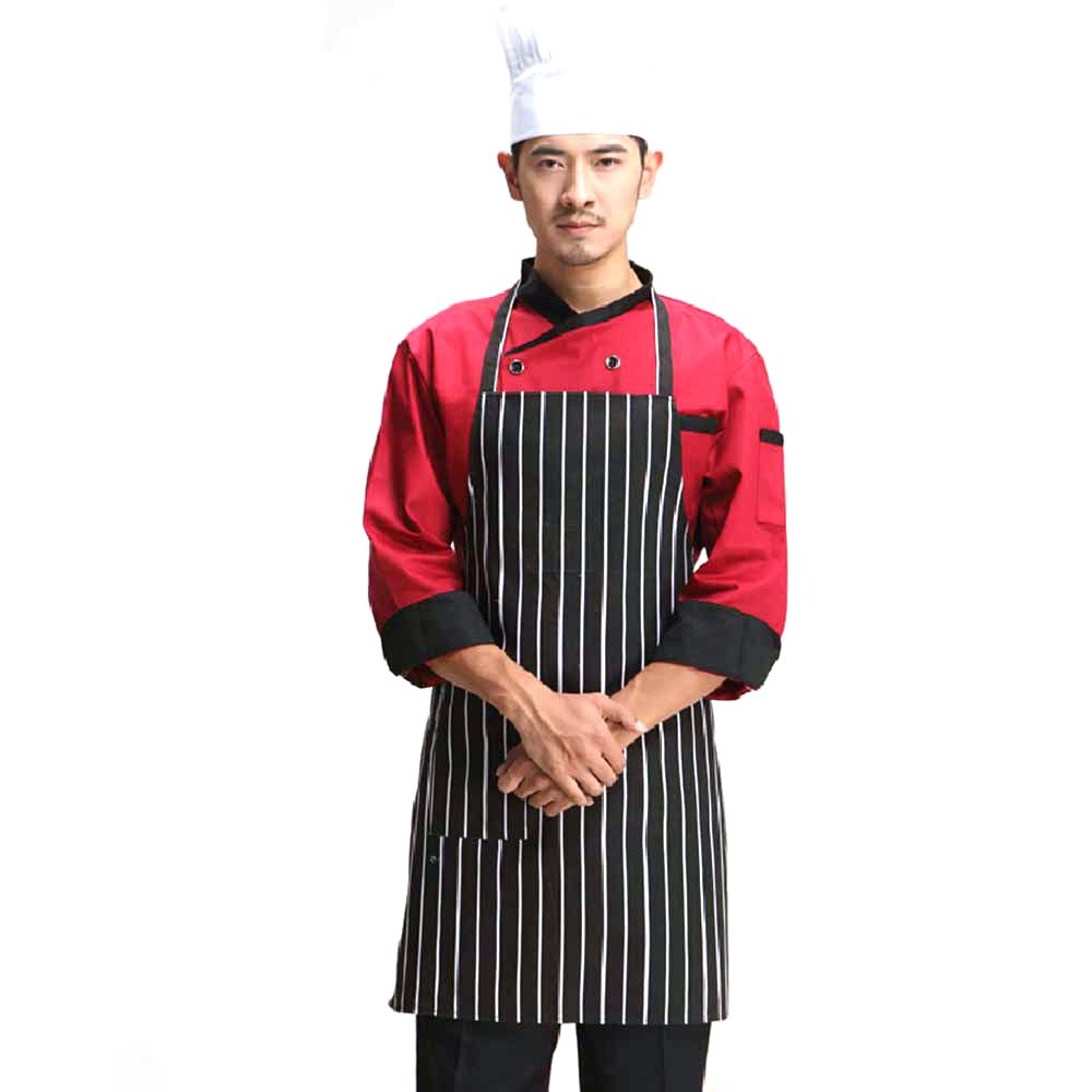 MYLIFEUNIT Black and White Stripes Kitchen Aprons for Men RA-H4MV-E1F9