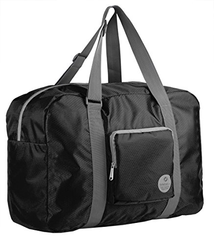 Wandf Foldable Travel Duffel Bag Luggage Sports Gym Water Resistant Nylon, Black>