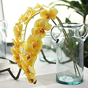 Vibola® Simulation Orchid Phalaenopsis Branch Home Garden DIY Decor Houseplant Real Touch Flower Silk Artificial Flowers for Wedding Decoration Supplies Fake Flowers (Yellow) 117