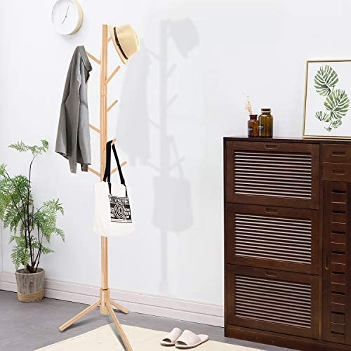 Clewiltess Wooden Tree 8 Hooks Coat Rack Stand, Hallway/Entryway Coat Hanger Stand for Clothes, Suits, Accessories,Super Easy Assembly (Natural)