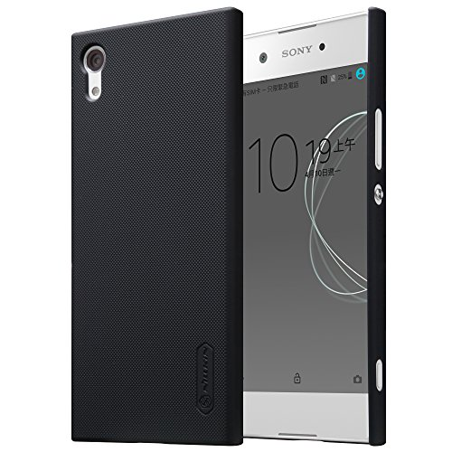 Sony Xperia XA1 Case with Screen protector (soft), PC Ultra Thin Lightweight Slim Fit Case, Non Slip Salient point Surface for Excellent Grip Anti-Fingerprint Cover (Black)