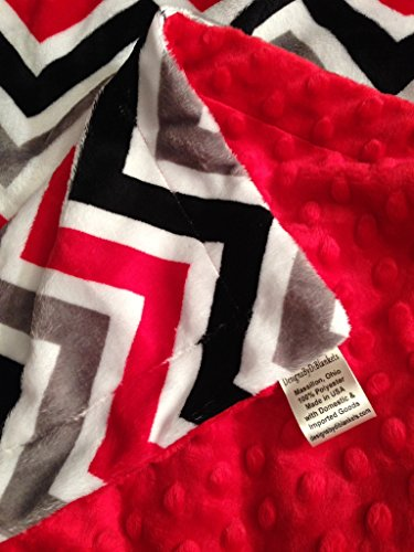 Adult Minky Blanket, Red Chevron Blanket, Couch Throw, Dorm Room Blanket Adult Size 50 x 60 in