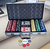 300 Chips Poker Six Stripe Chip Set w/ Dice, Cards, Dealer Kit, Silver Case & Keys