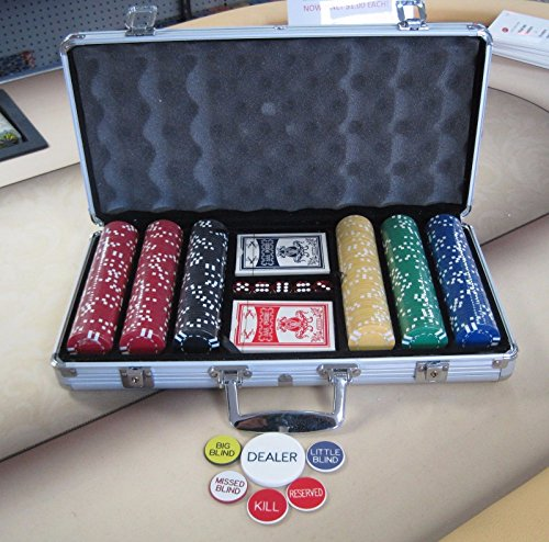 300 Chips Poker Six Stripe Chip Set w/ Dice, Cards, Dealer Kit, Silver Case & Keys by Spinettis