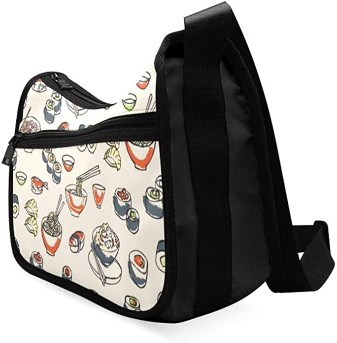 Japanese Seafood Cuisine With Sushi Messenger Bag Crossbody Bag Large Durable Shoulder School Or Business Bag Oxford Fabric For Mens Womens