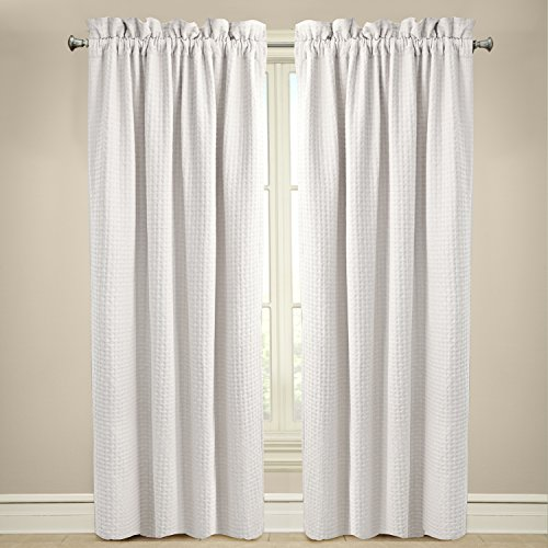 Veratex The Payton Window Collection Made In The U S A  100  Cotton Living Room Rod Pocket Window Panel Curtain  White  63