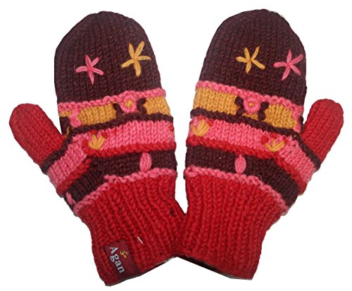 1418 MT Women's Hand Knit Wool Fleece Plant Mitten [Red/Pink]