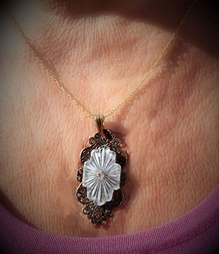 920s Art Deco Vintage Camphor Glass with Rhinestone, Added to Vintage Filigree Scroll Brass Stamping Bail Gold Plated Chain. One of a Kind!