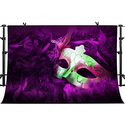 PHMOJEN Colorful Mask Purple Photography Backdrop Masquerade Dress-up Party Theme Birthday Party Photo Background Vinyl 10x7ft Studio Props XCPH525