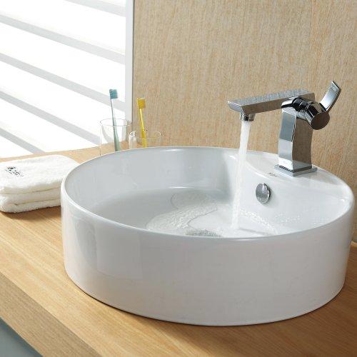 Kraus C-KCV-142-14601CH White Round Ceramic Sink and Sonus Basin Faucet Chrome
