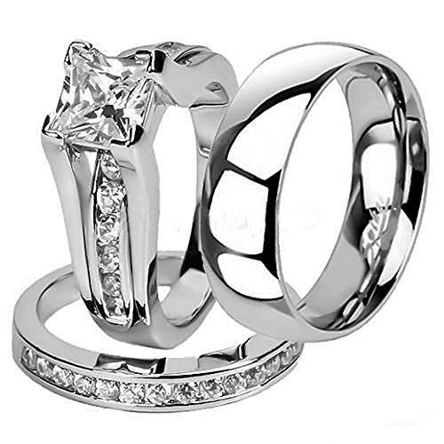 Marimor Jewelry His and Hers Stainless Steel Princess Wedding Ring Set and Classic Wedding Band Women
