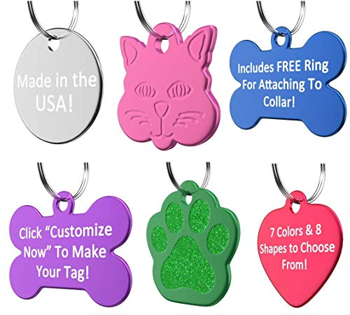 ID Tag Dog and Cat Personalized | Many Shapes and Colors to Choose From! | MADE IN USA, Strong Anodized Aluminum ()