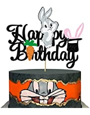 Shinymoment Glitter Happy Birthday Cake Topper for Looney Tunes Bugs Bunny Theme Party Decoration Supplies Cute Rabbit Teenager Baby Shower Boy's Birthday Party Supplies