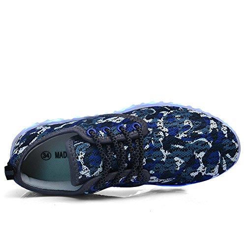 Scarpe Led Light Up Per Uomo Donna E Bambino Caricabatterie Usb Lampeggiante Luminoso Scarpe Da Ginnastica Blu Camouflage