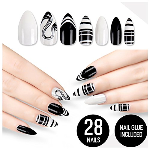 Tip Beauty Black White Fake Nail Kit, Black Swan, Faux Nails for Women, Fake Nails, Glue on Nails, Instant Nails, Professional False Nails with Glue - MSRP $18]()