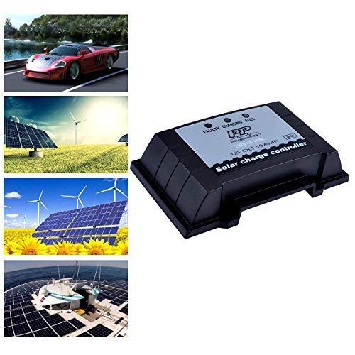 POWERPROW TM 12V 15A PWM Solar Charge Controller Waterproof Solar Panel Regulator Overload Protection Temperature Compensation