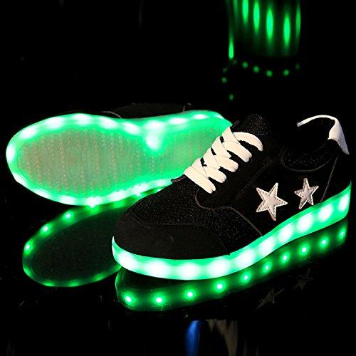 Azbro Women's Fashion Pentagram Print Rechargeable LED Light-Up Sneakers, Black EURO40/US7.5/UK6