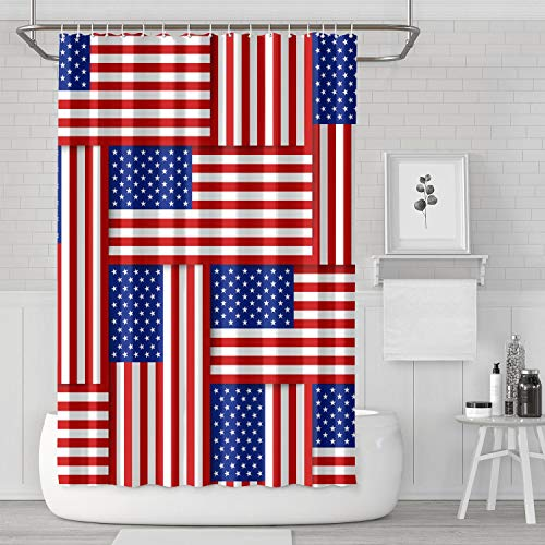 Heart Wolf National Flags United States America Bathroom Accessories Polyester Fabric Bathroom Decor for Bathroom,Printing Bath Curtains