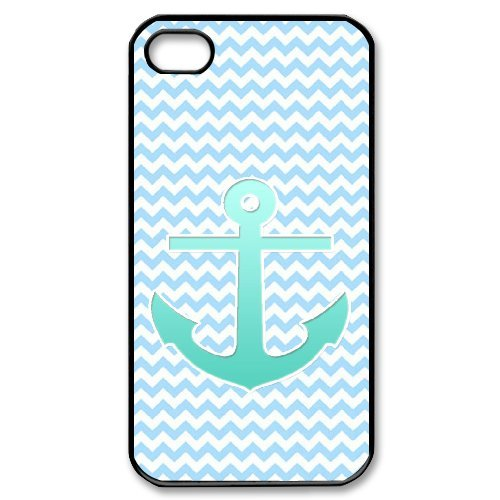 Cooliphone4Cases.com-2831-iPhone 4s Case, Hard Back Cover for iPhone 4s with Teal Blue Chevron Anchor Phone case Design-B01KX0LTLU-T Shirt Design