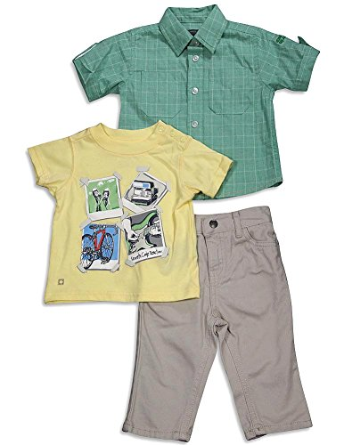 Kenneth Cole Reaction - Baby Boys 3 Piece Short Sleeve Pant Set, Green, Yellow, Khaki 31336-18Months