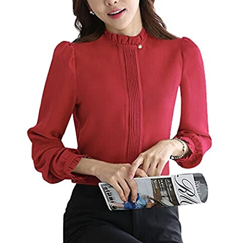 DPO Womens Chiffon Classic Button Up Pleated Long Sleeve Blouse Lotus Office Shirt (Long Sleeve Office)