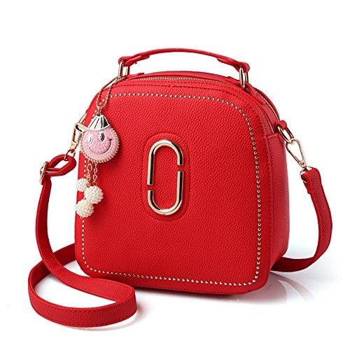 BAILIANG Womens Shoulder Bag Sac à Bandoulière Crossbody PU Métallique Mode Red
