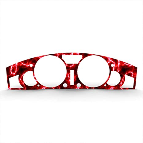 1996-2000 Honda Civic BZL-194-Red-Lightning-086-a Ferreus Industries Red Lightning Print Gauge Cluster Dash Bezel Trim fits